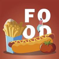 vrouw op eten met tomaat frietjes en hotdog vector