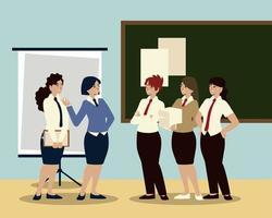 zakenmensen, zakelijke vrouwelijke werknemers ontmoeten die bespreken vector