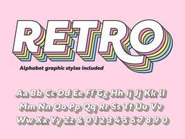 Gelaagde Retro alfabet Vector