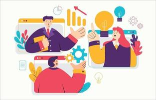online vergadering teamwork samenwerking vector