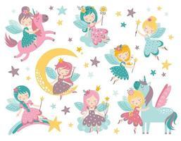 vector kinderachtige set met schattige fee, eenhoorn, sterren en wolken
