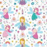 vector naadloos kinderachtig patroon met fee, bloemen, regenboog