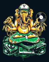 Ganesha DJ zittend op elektronische muziekspullen vector