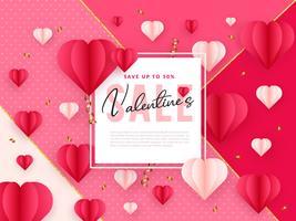 Papierkunst Valentines Sale achtergrond vector