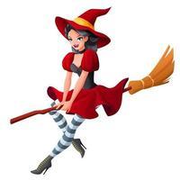vrouw in heks halloween-feest vectorillustratie vector