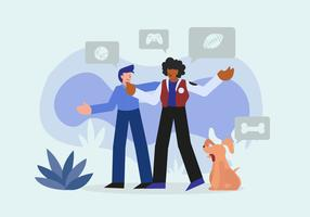 Interracial Vriend Talking Sports Vector Character Illustration