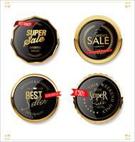 Gouden en zwarte retro verkoopbadges en etiketteninzameling vector