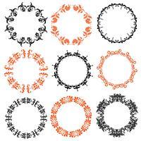 halloween damask cirkelframes vector