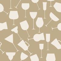 naadloze achtergrondpatroon van alcoholisch glas. retro vintage stijl vector