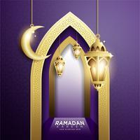Ramadan Kareem met hangende Fanoos-lantaarn en moskeeachtergrond