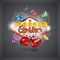Vectorillustratie op een casinothema met verlichtingsvertoning en dobbelt