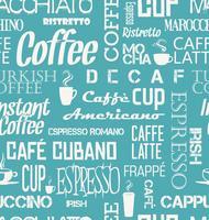 Achtergrond naadloze tegel van koffiewoorden en symbolen vector