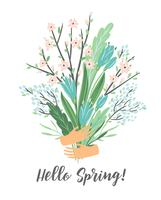 Vectorillustratie met lente boeket. Ontwerp voor poster, kaart, uitnodiging, aanplakbiljet, brochure, flyer. vector