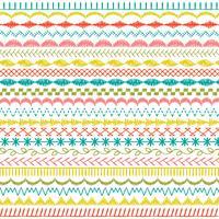 handgetekende pastel gestikte randpatronen vector
