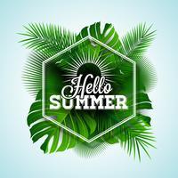 Hallo zomer typografische illustratie vector