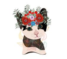 Leuke kaart met mooie kat. Kat in een krans van bloemen