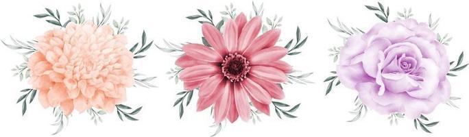 bloemboeket aquarel geïsoleerd op een witte achtergrond vector