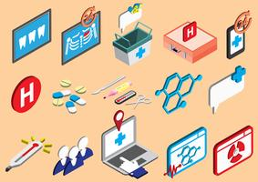 illustratie van info grafische ziekenhuis pictogrammen instellen concept vector