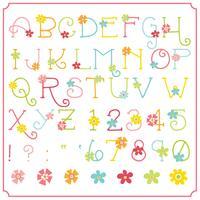 Lente bloem alfabet vector