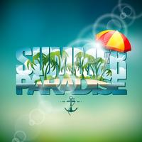 Vectorillustratie op een thema van de de zomervakantie met zonnescherm op vage achtergrond