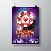 Vector partij flyer ontwerp op een casino thema met chips en typographyc tekst