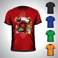 Vectort-shirt op een thema van de casinovakantie met roulettewiel wordt geplaatst.