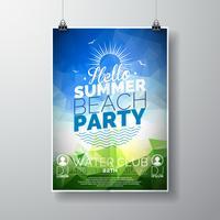 Vector partij flyer poster sjabloon op zomer strand thema met abstracte glanzende achtergrond.