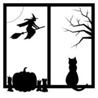 halloween, silhouetten van heks, kat, pompoen in het raam vector