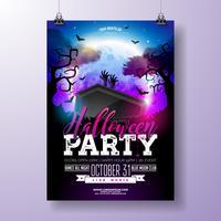 Halloween-partij flyer vectorillustratie