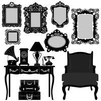 Antieke fotolijsten en meubels. vector
