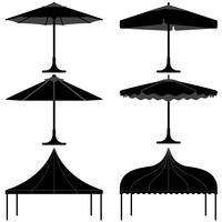 Paraplu tent gazebo luifel kamp silhouet. vector