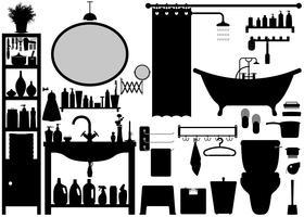 Badkamer Toilet Design Set Vector. vector