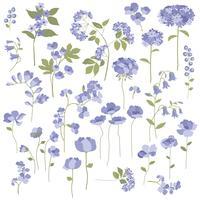 Hand getekend paarse bloemen vector