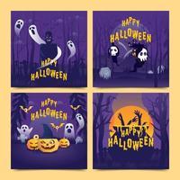 halloween sociale media sjabloonverzameling vector