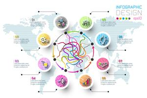 Zakelijke doodle kleurlabels vorm infographic cirkels bar. vector
