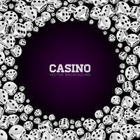 Casino illustratie met zwevende dobbelstenen op witte achtergrond