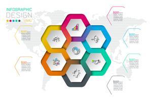 Zakelijke zeshoek etiketten vorm infographic op cirkel.