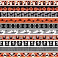 oranje grijs zwart halloween grenspatronen vector