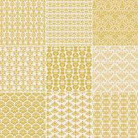 Gouden gele damastpatronen vector