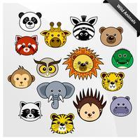 Dieren in het wild Cute Cartoon. vector