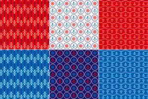 Rode witte en blauwe nautische patronen