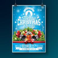Merry Christmas Party Flyer Illustratie vector