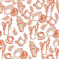 Rood naadloos patroon met theekoppen. vector