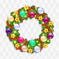 Kerstkrans met spar en hulst
