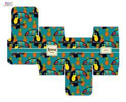 Decoratieve geschenkdoos van het sjabloonpatroon met tropische toekan. vector