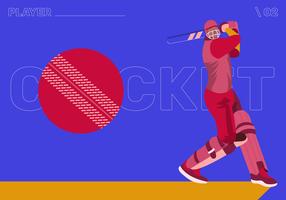 Cricket speler karakter Vector Flat Illustraion