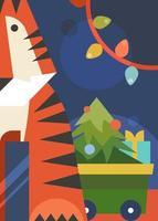 poster met tijger, kerstboom en slinger. vector