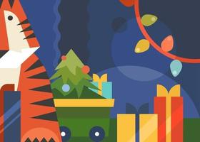 banner met tijger, kerstboom en slinger. vector