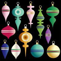 Kerst kleurrijke ornamenten vector clipart set