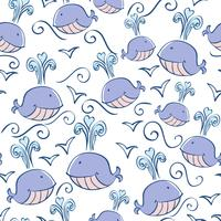 naadloze patroon met doodle walvissen vector